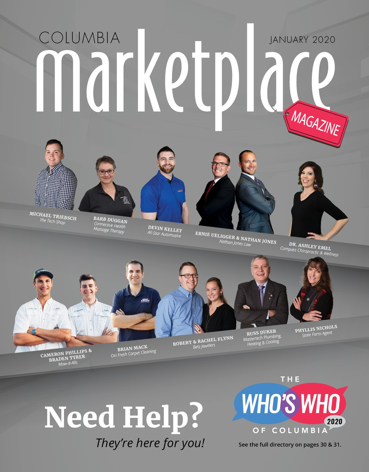 Columbia Marketplace Magazine by Modern Media Concepts January 2020 Edition Featuring the Whos Who of Columbia Missouri Local Businesses Cover