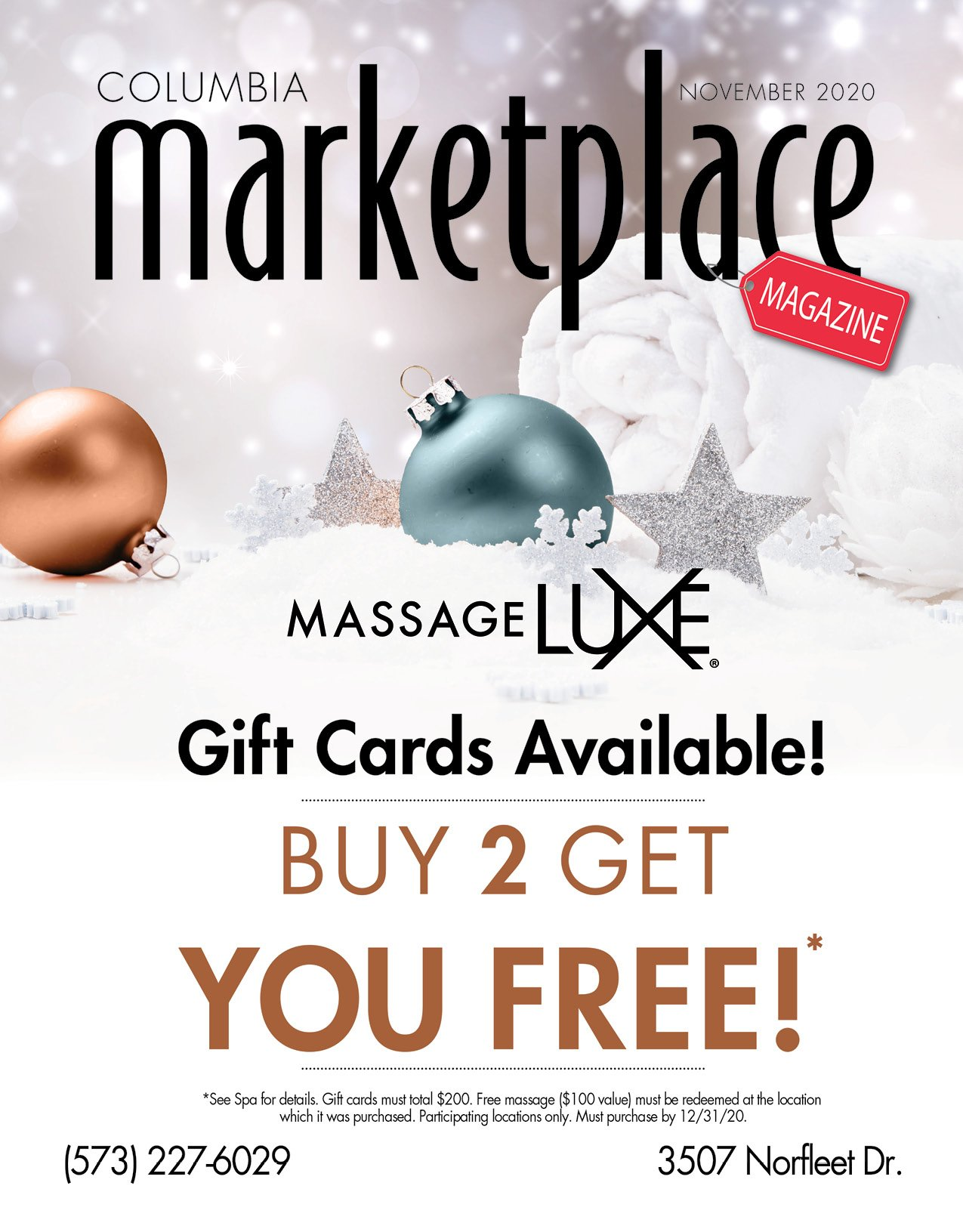 Marketplace Magazine by Modern Media Concepts November 2020 Edition Featuring Massage LUXE Columbia Missouri 1